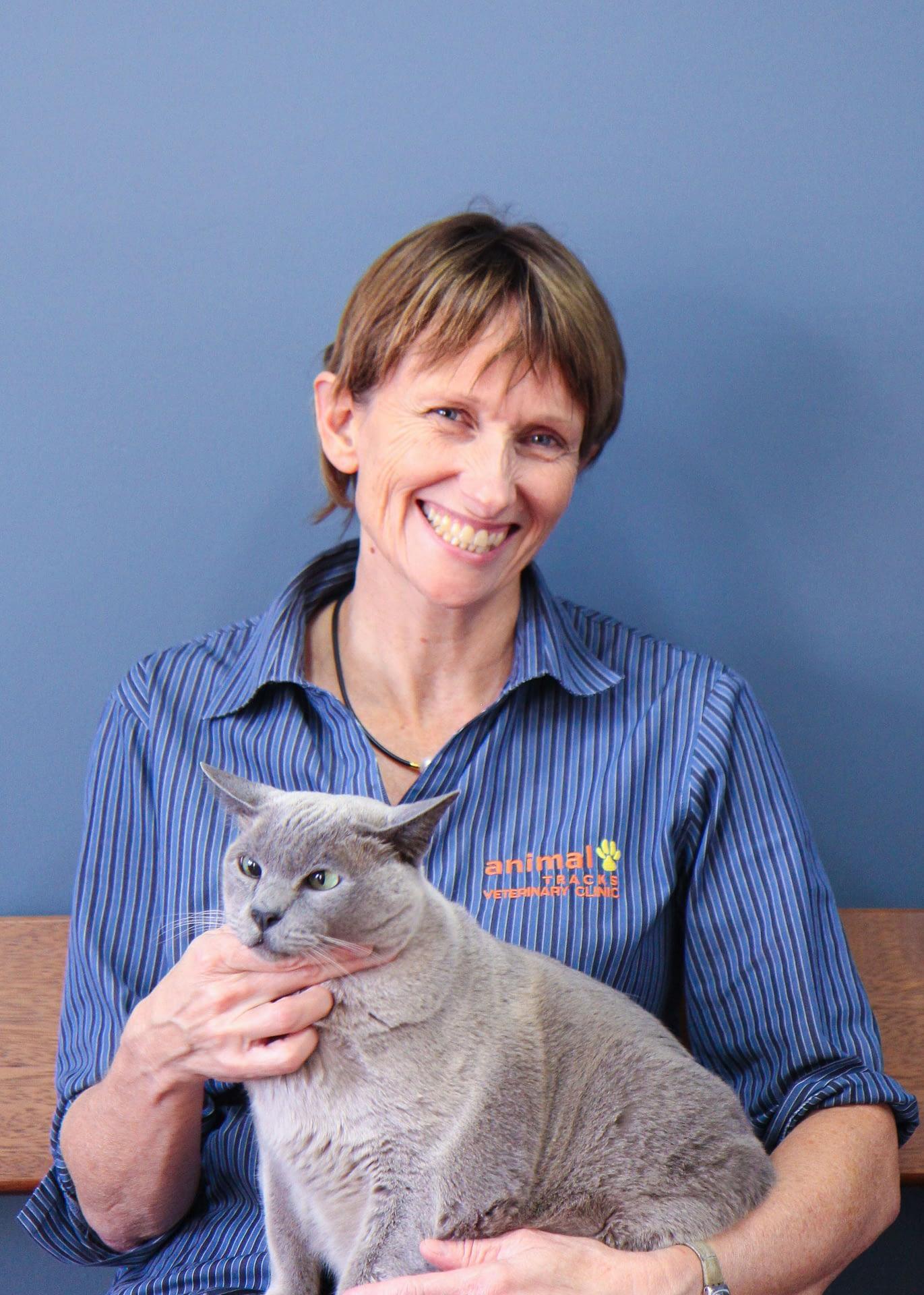 Animal Tracks Vet Catriona with her Burmese cat Manuel