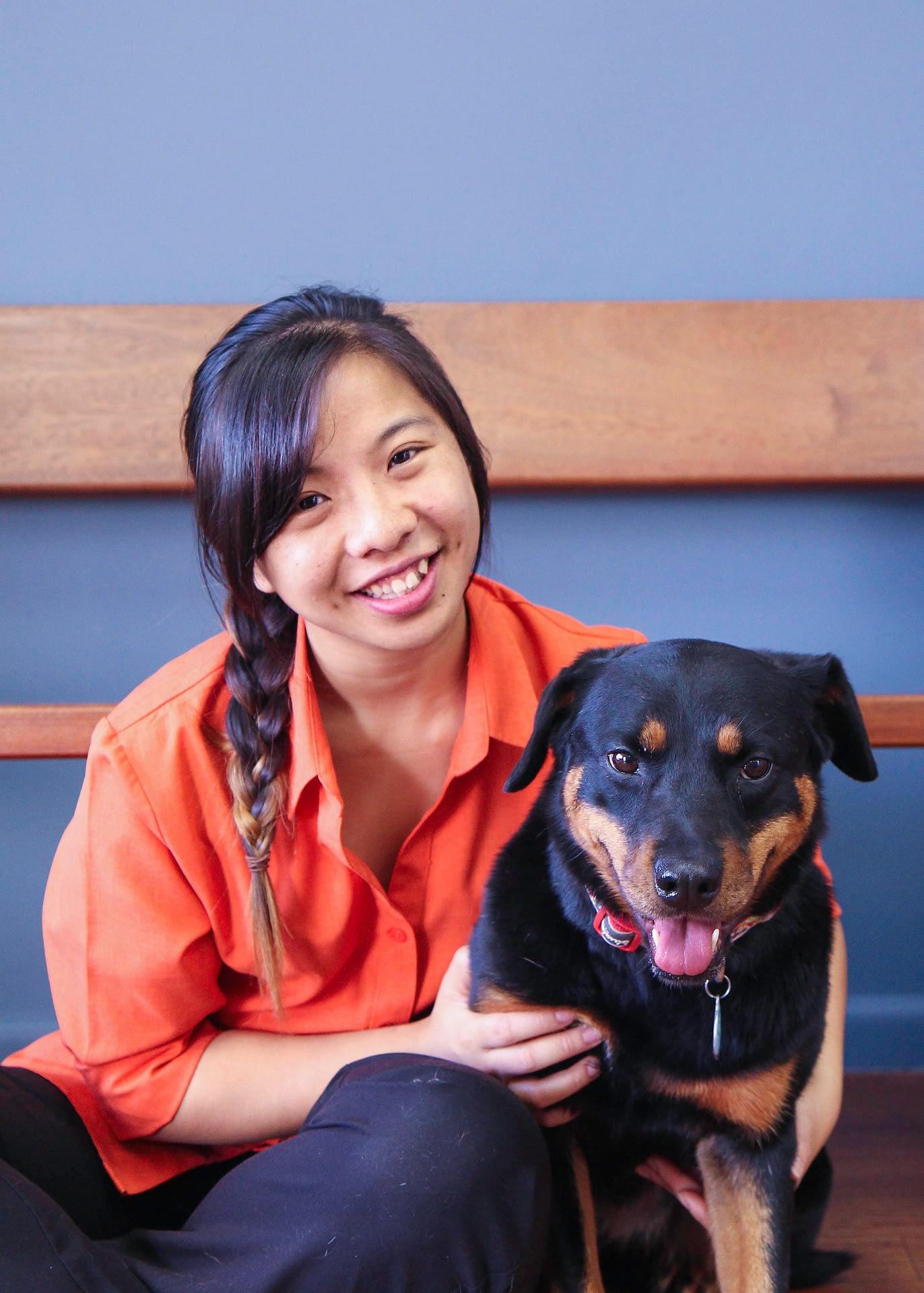 Animal Tracks Vet Nurse Jess with her rottweiler Sophie